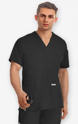 T4010 - MOBB Unisex Scrub Top Stretch-Flex Blend - Black