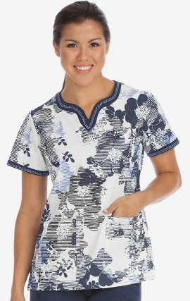 4436 LNBL Med Couture Ella Notch Neck Linear Blossom Print Scrub Top