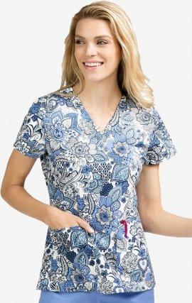 4979 FAEX Med Couture Scrubs Fall Expressions Print Top