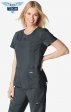 352 koi Tech Microfiber Serena Mock Wrap Scrub Tops - Black