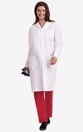 L406 Full Length Unisex Lab Coat Button Front - Women's View