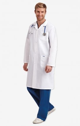 L407 Full Length Unisex Lab Coat Snap Front - Men's View