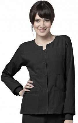 8114 WonderWink Four-Stretch Button Front Scrub Jackets - Black