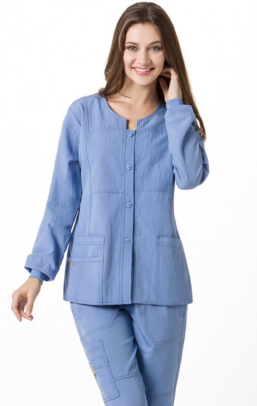 8114 Wonderwink Four Stretch Button Front Scrub Jackets