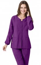 8114 WonderWink Four-Stretch Button Front Scrub Jackets - Electric Violet