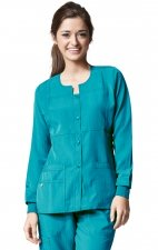 8114 WonderWink Four-Stretch Button Front Scrub Jackets - Real Teal