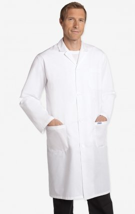 L506 100% Cotton Full Length Unisex Lab Coat Button Front - Men's View