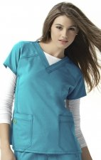 6214 WonderWink Four-Stretch V-neck Scrub Tops - Real Teal