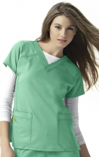 6214 WonderWink Four-Stretch V-neck Scrub Tops - Surgical Green