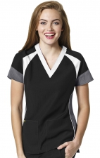 6814 - WonderWink Four-Stretch Color Block V-neck Scrub Tops - Black/White/Pewter