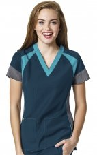 6814 - WonderWink Four-Stretch Color Block V-neck Scrub Tops - Caribbean/Pewter/Real Teal