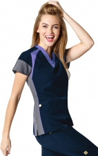 6814 - WonderWink Four-Stretch Color Block V-neck Scrub Tops - Navy/Lavender/Pewter