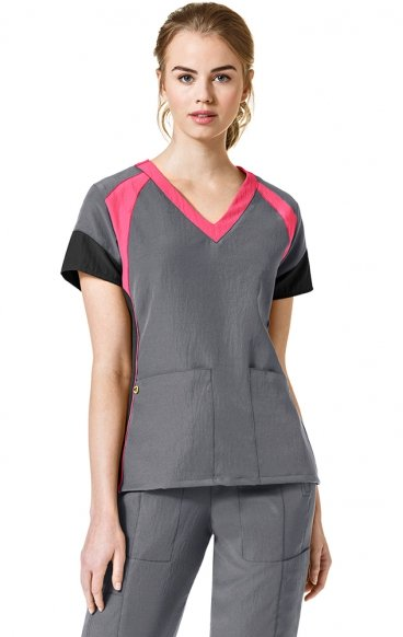 6814 - WonderWink Four-Stretch Color Block V-neck Scrub Tops