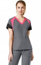 6814 - WonderWink Four-Stretch Color Block V-neck Scrub Tops - Pewter/Candy Pink/Black