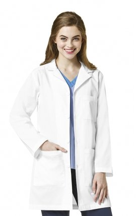 7008 WonderFlex Women's 4 Button Lab Coat With Adjustable Belt