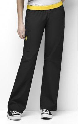 5016 WonderWink Origins Quebec Elastic Waistband Scrub Pants - Black