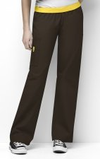 5016 WonderWink Origins Quebec Elastic Waistband Scrub Pants - Chocolate
