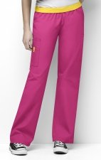 5016 WonderWink Origins Quebec Elastic Waistband Scrub Pants - Hot Pink