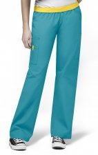 5016 WonderWink Origins Quebec Elastic Waistband Scrub Pants - Real Teal