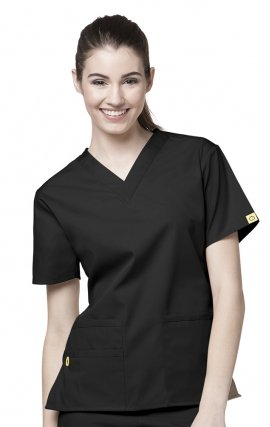 6016 WonderWink Origins Bravo V-neck Scrub Tops - Black