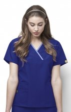 6026 WonderWink Origins Charlie Y-neck Contrast Trim Scrub Tops - Galaxy Blue