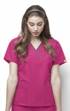 6026 WonderWink Origins Charlie Y-neck Contrast Trim Scrub Tops - Hot Pink