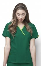 6026 WonderWink Origins Charlie Y-neck Contrast Trim Scrub Tops - Hunter Green