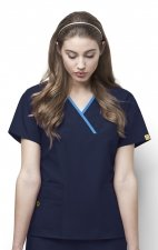 6026 WonderWink Origins Charlie Y-neck Contrast Trim Scrub Tops - Navy