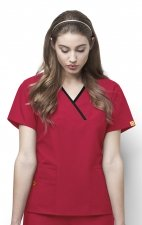 6026 WonderWink Origins Charlie Y-neck Contrast Trim Scrub Tops - Red
