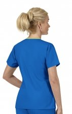 6026 WonderWink Origins Charlie Y-neck Contrast Trim Scrub Tops - Royal