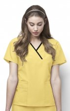 6026 WonderWink Origins Charlie Y-neck Contrast Trim Scrub Tops - Yellow