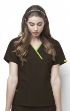 6026 WonderWink Origins Charlie Y-neck Contrast Trim Scrub Tops - Chocolate