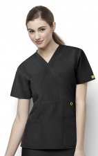 6056 Wonderwink Golf Mock Wrap Scrub Top - Black