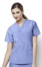 6056 Wonderwink Golf Mock Wrap Scrub Top - Ceil Blue