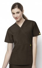 6056 Wonderwink Golf Mock Wrap Scrub Top - Chocolate