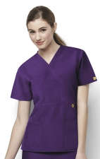 6056 Wonderwink Golf Mock Wrap Scrub Top - Eggplant
