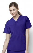6056 Wonderwink Golf Mock Wrap Scrub Top - Grape