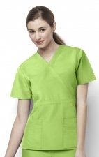 6056 Wonderwink Golf Mock Wrap Scrub Top - Green Apple