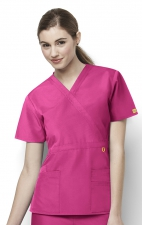 6056 Wonderwink Golf Mock Wrap Scrub Top - Hot Pink