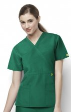 6056 Wonderwink Golf Mock Wrap Scrub Top - Hunter Green