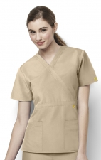 6056 Wonderwink Golf Mock Wrap Scrub Top - Khaki