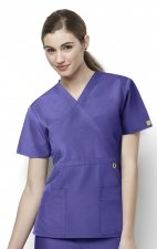 6056 Wonderwink Golf Mock Wrap Scrub Top - Lavender