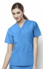 6056 Wonderwink Golf Mock Wrap Scrub Top - Malibu Blue