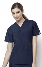 6056 Wonderwink Golf Mock Wrap Scrub Top - Navy
