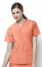 6056 Wonderwink Golf Mock Wrap Scrub Top - Orange Sherbet