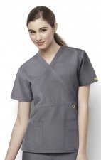 6056 Wonderwink Golf Mock Wrap Scrub Top - Pewter