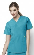 6056 Wonderwink Golf Mock Wrap Scrub Top - Real Teal