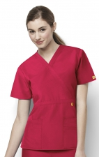 6056 Wonderwink Golf Mock Wrap Scrub Top - Red