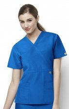 6056 Wonderwink Golf Mock Wrap Scrub Top - Royal