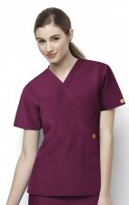 6056 Wonderwink Golf Mock Wrap Scrub Top - Wine